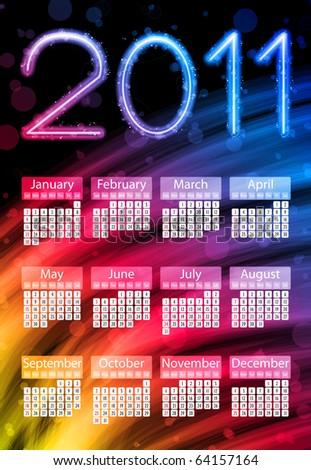 Colorful 2011 Calendar on Black Background. Rainbow Colors