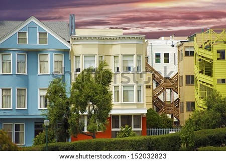 Colorful California Homes - San Francisco, CA, USA. Housing Theme. Architecture Photo Collection.