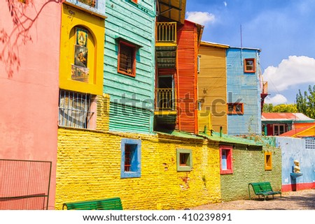 Colorful Caminito street in the La Boca neighborhood of Buenos Aires #410239891