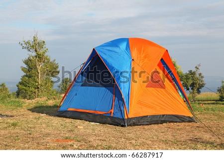 colorful campsite tent