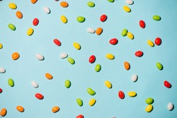 Colorful candies and jellies as background