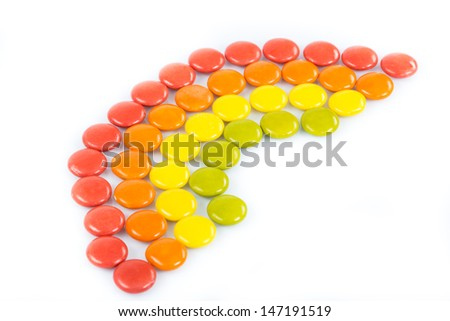Colorful candies in raindow colors and shape