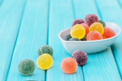 colorful candy and jelly sweet, jelly candy flavor fruit, candy dessert colorful on sugar