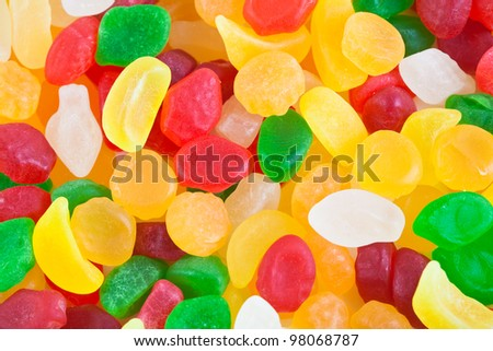 Colorful candy assortment as background