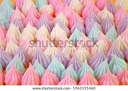 Colorful candy background and texture. Thai chewy coconut candy or Allure candy (Ar Lua), famous Thai dessert Stock photo ©