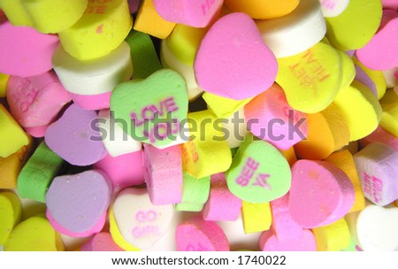 colorful candy hearts, fun picture for your valentine's needs.