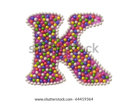 Colorful Candy Letter K in 3D - stock photo