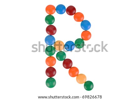 Colorful Candy Letter R