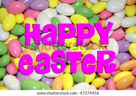 "colorful candy with Easter Holiday Greeting ""Happy Easter"""