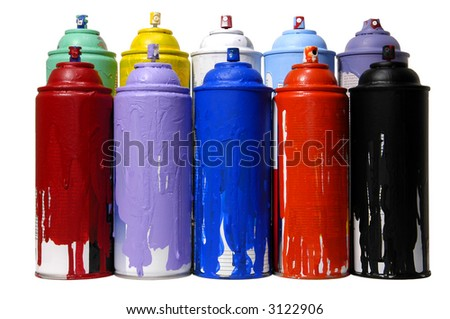 colorful cans of spray paint on a white background