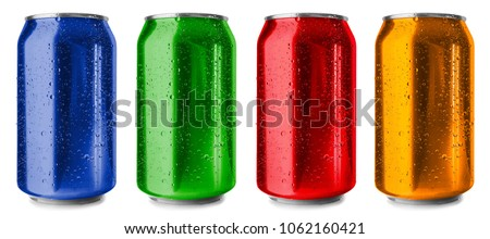Colorful cans on white background #1062160421