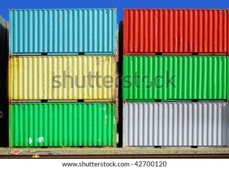 Colorful cargo container in a ship harbor