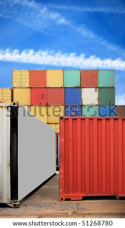 Colorful cargo container on a harbor site