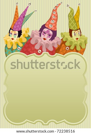 colorful carnival clowns around a light green frame - for vector version see image no. 71879878