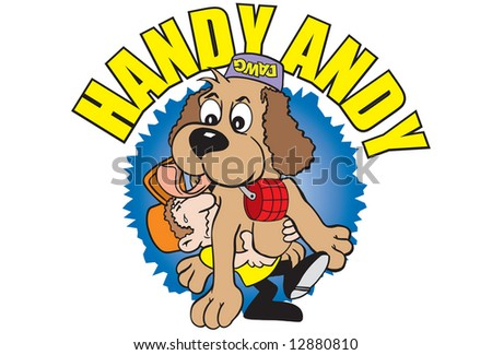 colorful cartoon art of character (man) who claims to be a dog trainer is carrying a huge dog. The dog has his water bowl on its head. The man has more dog than he bargained for.