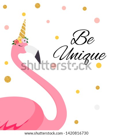"""Colorful Cartoon Pink Flamingo on beautiful background postcard with the inscription """"Be Unique"""".  Illustration."""