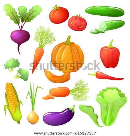 Colorful cartoon set of vegetables icons. Eco organic fresh template with vegetables for the decoration of menu. #616129139