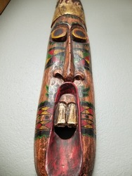 Colorful Carved Tall Indonesian Mask - Scary Face