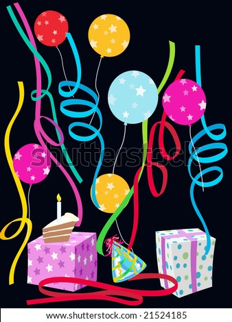 colorful celebration illustration with balloons, streamers, presents, cake