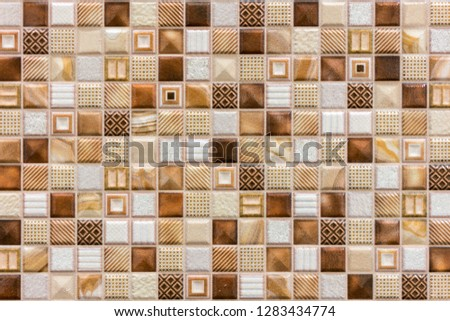 Colorful Ceramic Mosaic Tiles (White, Cream, Light Brown, Brown, Dark Brown). background of brown ceramic tiles
