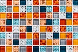 Colorful Ceramic Mosaic Tiles (White, Light Blue, Grey, Blue, Orange, Red)