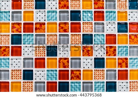 Colorful Ceramic Mosaic Tiles (White, Light Blue, Grey, Blue, Orange, Red)
