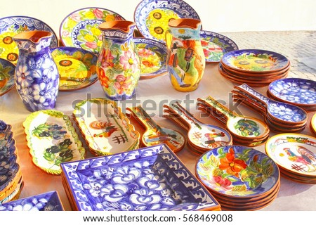Shutterstock Colorful ceramic pottery, Portugal
