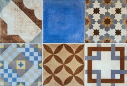 Colorful ceramic tiles with Portugal mediterranean style pattern background.