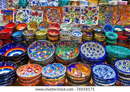 Colorful ceramics for sale on the Spice Bazaar at Istanbul