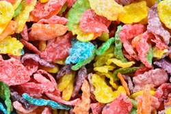 colorful cereal background close up