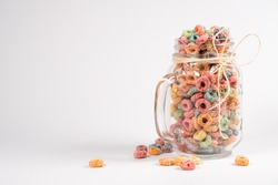 colorful cereal on a jar