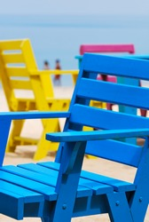 Colorful chair  on the beach with blue sky