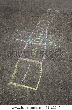Colorful chalk hopscotch board in the schoolyard