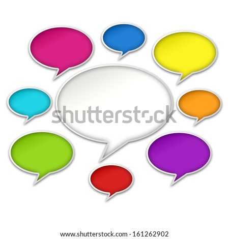 Colorful chat bubbles conversation isolated on white background