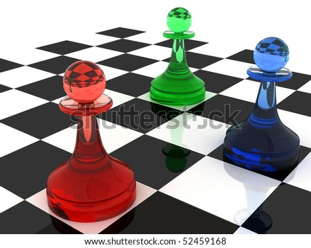 Colorful chess figures: three classical shape pawns made of different colored  glass (RGB color scheme). 3d render illustration.