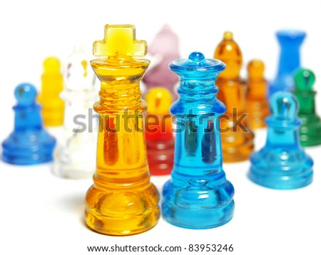 Colorful chess made of glass isolated on white background