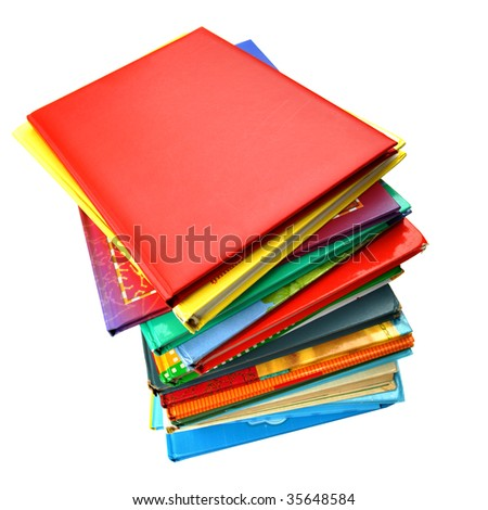 Colorful children's books isolated over white background