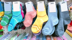 colorful children's socks in a store