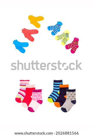 Colorful children socks isolated on white. Socks for kids. Colorful socks set. Colorful socks for kids