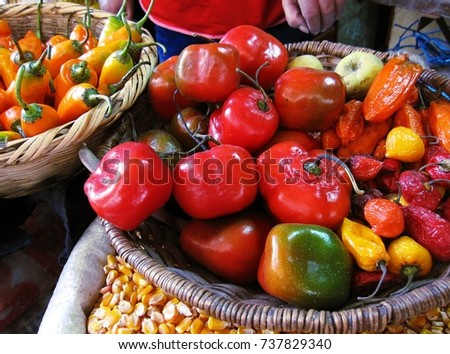 Colorful chili pepper in a wooden weave basket in Chachapoyas market, Peru #737829340