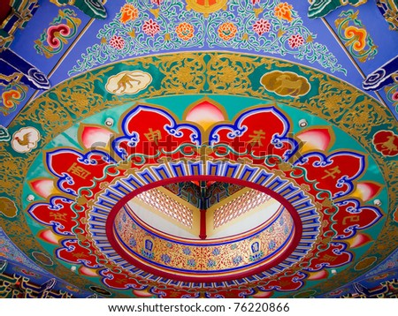 Colorful Chinese Art painted on the ceiling in the temple building