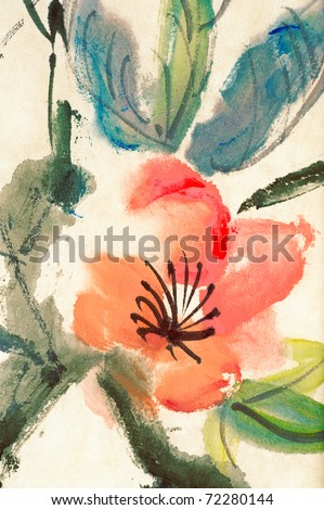 Colorful Chinese painting, flower and leaves, on art paper.
