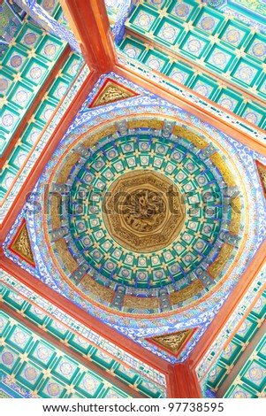 colorful Chinese pavilion roof design,beijing China