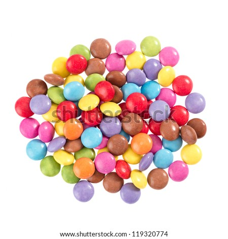 Colorful chocolate in front of white background
