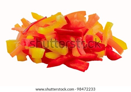 colorful chopped bell peppers isolated on white background