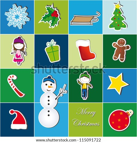 Colorful Christmas background with Christmas symbol