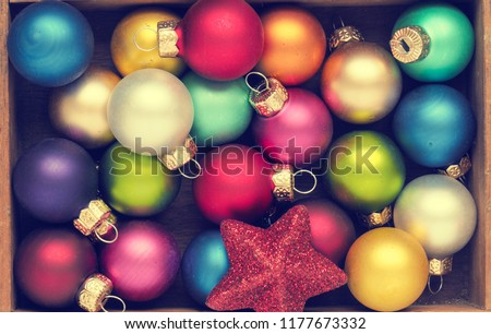 Colorful Christmas background with traditional vintage Christmas baubles #1177673332