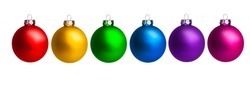 Colorful christmas balls as decoration for christmas isolated on white background