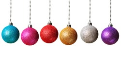Colorful Christmas baubles isolated on white background