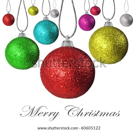 Colorful christmas baubles on a white background with space for text - stock photo